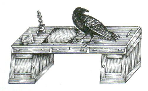 raven and a writing desk Because a writing-desk is a rest for pens and a raven is a pest for wrens by tony weston because raven contains five letters, which you might equally well expect to find in a writing-desk.