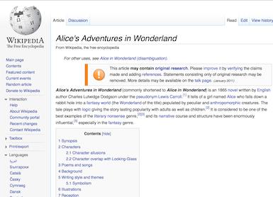 The Evolution of Wonderland on the Internet